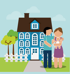 Family home couple and baby image vector