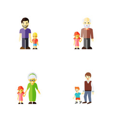 flat icon relatives set of boys son grandpa vector image vector image