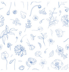 floral seamless pattern with scattered blooming vector image vector image