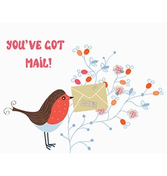 Funny card with bird and mail vector image