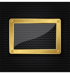 Glass in golden frame on abstract metal speaker gr vector image