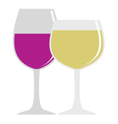 Glasses with red and white wine icon isolated vector
