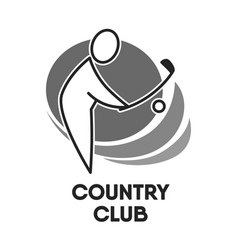 Golf country club logo colorless template on white vector