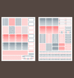 Grey and pink printable stickers for planner vector