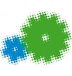 half tone cogs vector image vector image