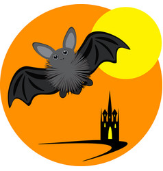 Halloween inllustration with bat moon and castle vector