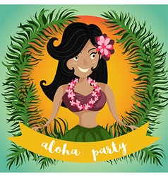 Hawaiian hula dancing girl vector