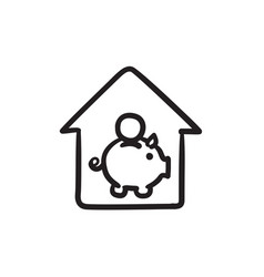 House savings sketch icon vector