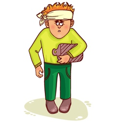 Ill little man with stomach issues and headache vector image