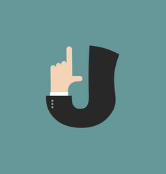 J letter businessman hand font it shows finger vector