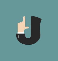 J letter businessman hand font it shows finger vector