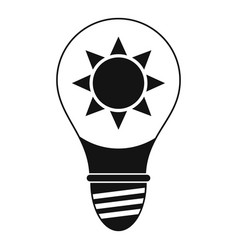 Light bulb with sun inside icon simple vector