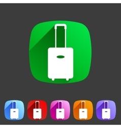 luggage suitcase bag icon flat web sign symbol vector image vector image