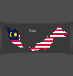 malaysia map with malaysian national flag vector image vector image