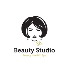 minimalistic beauty studio logo in black vector image vector image