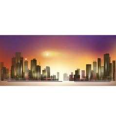 Modern night city skyline at sunset vector image