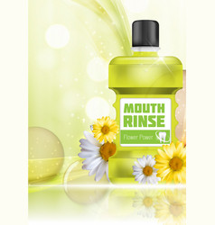 Mouth rinse design cosmetics product bottle with vector