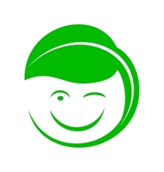 Organic smiley with green leaf icon simple style vector image vector image