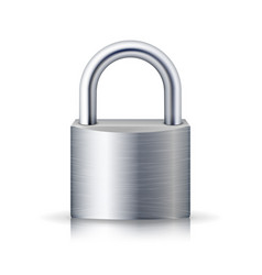 realistic closed padlock steel lock for vector image vector image