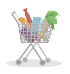 shopping cart full with groceries isolated on vector image