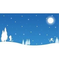 Silhouette of christmas landscape collection vector