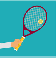 Tennis player racket hit the ball vector