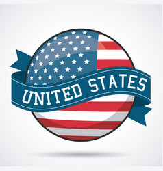 Usa flag ribbon button decoration design vector