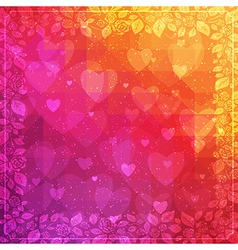 Valentines Day background with rose frame vector image