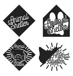 Vintage animal shelter emblems vector
