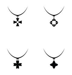 Necklace icon set vector