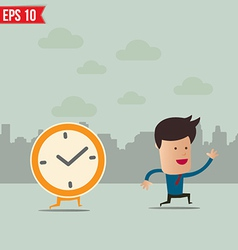 Business man run ahead the clock - - eps10 vector