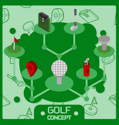 golf color isometric concept icons vector image