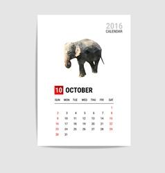 2016 october calendar elephant polygon vector