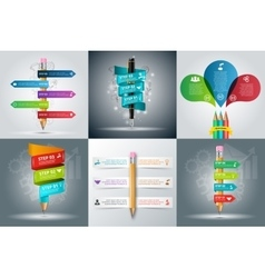 Education infographic with pencil and pen vector