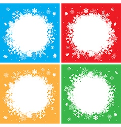 Color winter backgrounds with white snowflakes vector