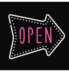 Classic open neon sign dark background business vector image