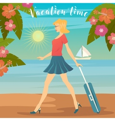 Woman on vacation girl with baggage vector