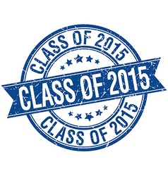 Class of 2015 grunge retro blue isolated ribbon vector