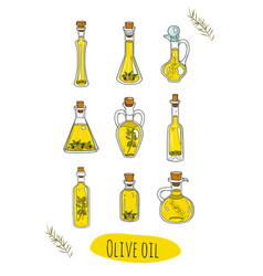9 isolated doodle olive oils in cute bottles vector