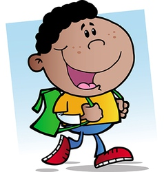 African american walking school boy vector