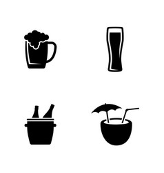 Alcoholic simple related icons vector