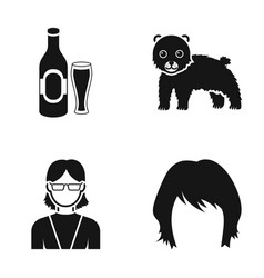 Bottle of beer bear and other web icon in black vector