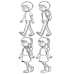 boys and girls walking vector image