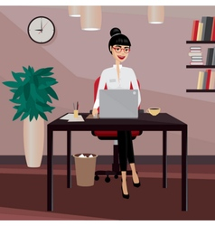 Business woman working at workplace vector