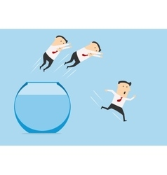 Businessmen jumping out of fish bowl vector