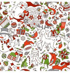 cartoon merry christmas seamless pattern vector image
