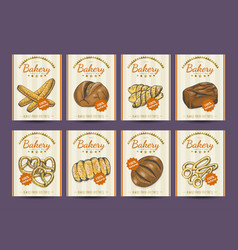 Collection of posters with various bakery products vector