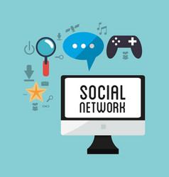 Computer social network game chat vector