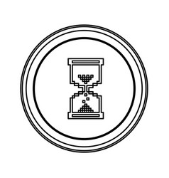 Contour emblem mouse hourglass cursor icon vector