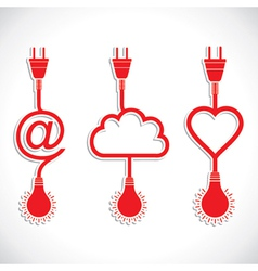 Creative icon design of heart and cloud with plug vector